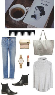 Untitled #77 by fleur-de-neige featuring a grey purseChloé cashmere jumper / Genetic Denim high rise jeans / Vin Baker grey purse / MARC BY MARC JACOBS triple bracelet, $340 / ASOS Leather Chelsea Boot / Clarins gold cosmetic, $44 / Mimco moisturizing lipstick, $6.15 / GHD detangling comb, $12