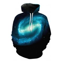 Cool 3D Galaxy Printed Long Sleeve Casual Hoodie with Pockets (40 CAD) ❤ liked on Polyvore featuring tops, hoodies, galaxy hoodie, long hooded sweatshirt, blue hoodies, long hoodie and nebula hoodie