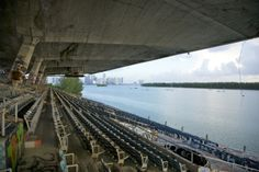 Miami Marine Stadium – Abandoned in 1992 after Hurricane Andrew. Located on Veros Street on the Virgina Key barrier island in Miami, Florida