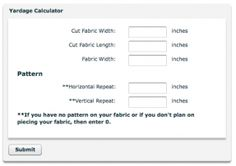Fabric Calculator ... Online calculator that tells you how much fabric you need for projects based on size.