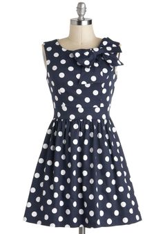 The Pennsylvania Polka Dress in Navy Dots - White, Polka Dots, Bows, Casual, Fit & Flare, Blue, Sleeveless, Spring, Pinup, Nautical, Short
