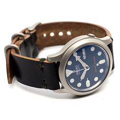 Leather Watch Strap: Black Horween Chromexcel by E3SupplyCo