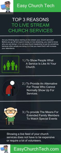 3 Reasons For Churches To Broadcast A Live Church Service Live streaming is a great way to get the gospel out while letting people know about your church, but there are more benefits to broadcasting a live church service.