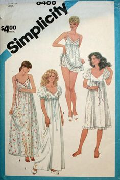 Simplicity 6468 Misses Empire Waist Nightgown and Baby Doll Pajamas Pattern Womens Vintage Sewing Pattern Size 12 Bust 34 UNCUT Robe Baby Doll, Baby Doll Pajamas, Baby Nightgown, Nightgown Pattern, Baby Dolls, Pyjamas, Doll Sewing Patterns, Simplicity Sewing Patterns, Vintage Sewing Patterns