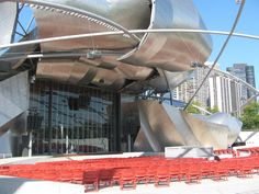 From Wikiwand: The pavilion bandshell is designed to reflect sound for optimal acoustics.
