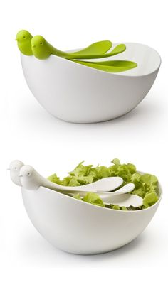 Salad Bowl & Servers White Green by Qualy // I really <3 this cute design, such a table-top centerpiece #productdesign #emotionaldesign