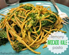 The Healthy Sooner: Creamy Avocado Kale Pasta