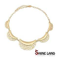 nice GLucky Steampunk Style Jewelry Women Gold Plated Circle Chain Statement Rock Holliow Out Crescent shape Choker Necklace New Designed