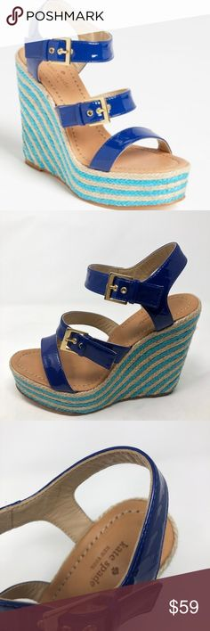80c14656aae6 Kate Spade New York Lucie Blue Wedge Sandals Kate Spade New York Lucie Blue  Wedge Sandals Shoes Patent Leather Strappy Heel height is inches kate spade  ...