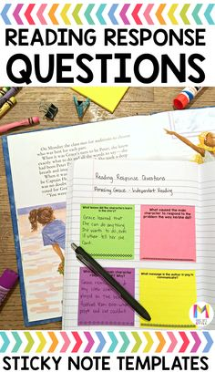 These reading comprehension sticky notes are an awesome way to help students keep their thoughts organized during independent reading time. There are over 120 reading comprehension questions that cover a variety of skills such as plot structure, theme, summary and cause and effect. 4th Grade Reading, Student Reading, Reading Time, Guided Reading, Teaching Reading, Reading Groups, Reading Strategies, Reading Activities, Reading Skills