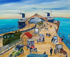 """Arrival of Mailboat at Carlisle Pier, early by Nuala Holloway - Oil on Canvas Irish Art, Carlisle, Dublin, Seaside, Oil On Canvas, Painting, Beach, Painted Canvas, Paintings"