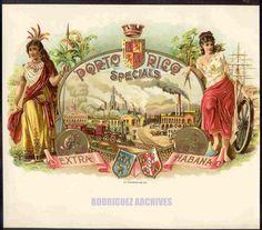 PORTO RICO SPECIALS. Extra Habana. - O. L. Schwencke, Litho. Vintage Cigar Advertising Puerto Rico