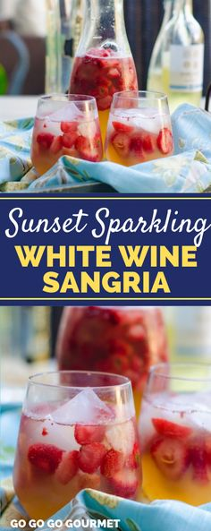 Summer pitcher drinks don't get any better than this Sunset Sparkling White Wine Sangria recipe! With lots of juice and fresh fruit, this will e your new favorite summer cocktail! #gogogogourmet #sunsetsparklingwhitewinesangria #easysangriarecipes #whitewinesangria