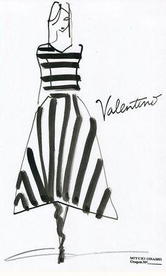 Fashion Illustration by Miyuki Ohashi, Fall 2015 RTW, Valentino.