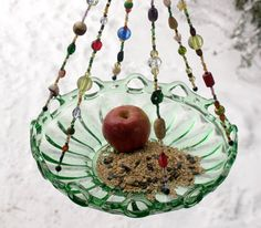 Large Beaded Green Bowl Candle Holder Bird Feeder