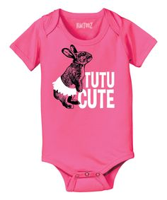 Another great find on #zulily! Raspberry 'Tutu Cute' Bunny Bodysuit - Infant by Festuvius #zulilyfinds
