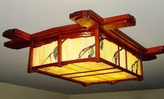 Ceiling Flush mount lighting fixture for by sammossaediwoodworks, $3600.00 Diy Light Fixtures, Ceiling Fixtures, Ceiling Lights, Craftsman Style, Craftsman Houses, American Craftsman, Stained Glass Chandelier, Diy Luminaire, Japanese Lamps