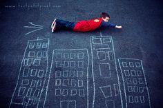 Love this photo idea- Superhero photos!