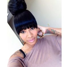 Weave Ponytail Hairstyles With Bangs, Important Concept! - Looking for hairstyle ponytail that are stylish without any effort? Bangs Ponytail, Weave Ponytail Hairstyles, Black Hairstyles With Weave, Ponytail Styles, My Hairstyle, Black Girls Hairstyles, Short Hairstyles For Women, Hairstyles With Bangs, Curly Hair Styles