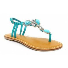Summer Beautiful Women's Sandals. Embellished Turquoise sandals ♥