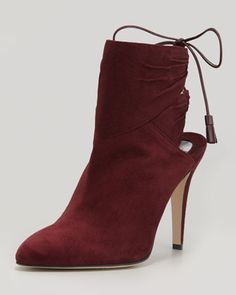 Arron Suede Tie-Back Ankle Boot by Brian Atwood at Neiman Marcus.