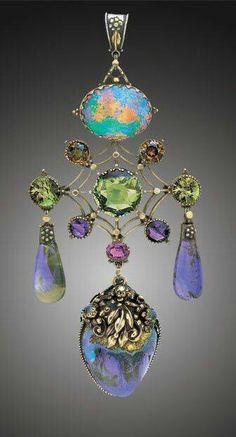 The Artifcer's Guild (English), Pendant, gold/silver/opal/sapphire/zircon/tourmaline/amethyst/almandine garnet/moonstone/pearl, c. Opal Jewelry, Jewelry Art, Antique Jewelry, Vintage Jewelry, Jewelry Accessories, Fine Jewelry, Jewelry Necklaces, Jewelry Design, Jewelry Making