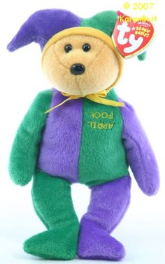 Ty Beanie Babies April Fool-How much is my violet green Ty Beanie Baby April Fool bear Beanie Baby worth?What is the value of my Ty Beanie Babies April Fool