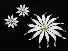 Vintage Signed TRIFARI White Enamel Flower Brooch & Clip On Earrings SET