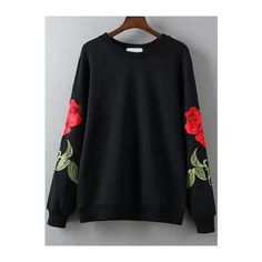 Rose Embroidered Black Sweatshirt (€20) ❤ liked on Polyvore featuring tops, hoodies, sweatshirts, black, rose tops, embroidered sweatshirts, embroidery tops, long sleeve tops and embroidered top