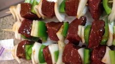 Shish kabobs   Steak plus veggies. Going to try these for my Hawaiian theme GNI. But with chicken