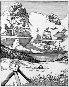Ink Pen Art, Ink Pen Drawings, Doodle Drawings, Landscape Sketch, Landscape Drawings, Landscape Art, Pen Illustration, Ink Illustrations, Hatch Drawing