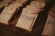 favor bags with love quotes from film // photo by ArrowAndApple.com