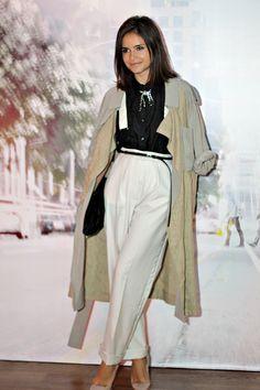 Miroslava Duma coat pants style black and white elegant