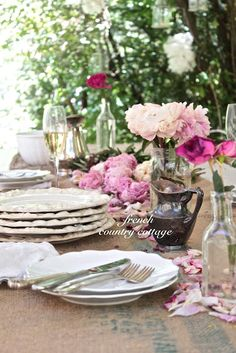 FRENCH COUNTRY COTTAGE~ rustic runner- shabby table setting