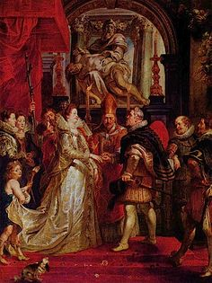 Peter Paul Rubens - The Wedding by Proxy of Marie de' Medici to King Henry IV - One of the Marie de' Medici cycle's painting. Peter Paul Rubens, Pedro Pablo Rubens, Baroque, Cycle Painting, Louvre, King Henry, Great Paintings, Caravaggio, Renaissance Art