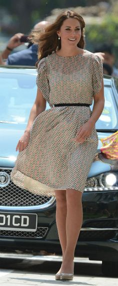 Kate Middleton Wears retty patterned silk skirt and top by Asian designer Raoul