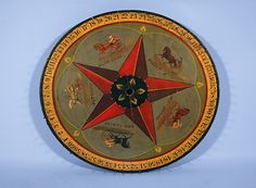 MASTERPIECE GAME WHEEL WITH HAND-PAINTED SULKY RACE HORSES circa 1880-1910