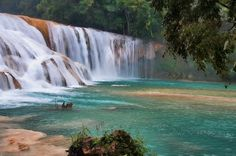 In Chiapas, Mexico. Cascadas Agua Azul. One of my new favorite swimming holes! I lost my best hair clip here. Gift to the river gods.