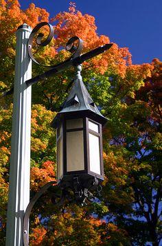 Lantern in fall at Michigan State University, East Lansing, Michigan