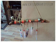 Aztec Driftwood Mobile Bohemian Wall Hanging by iCatchUrDream