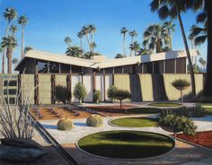 Future Perfect: The Midcentury Modern Paintings of Danny Heller Palm Springs Mid Century Modern, Mid Century Modern Decor, Midcentury Modern, Butterfly Roof, Mid Century Exterior, Modernism Week, Modern Bungalow, Modern Exterior, Exterior Design