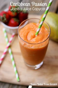 Caribbean Passion Jamba Juice Copycat Smoothie | Tastes Better From Scratch #mango #strawberries #peaches #smoothies #copycatrecipe