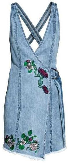 Loving this embroidered denim dress.