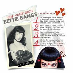 Pin Up Bangs, How To Cut Bangs, Pin Up Hair, Vintage Hairstyles Tutorial, Retro Hairstyles, Hairstyles With Bangs, Updo Hairstyle, Wedding Hairstyles, Looks Rockabilly