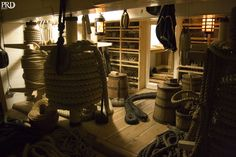 Chandlery. HMS VICTORY.  Lot's of ropes, blocks, etc.