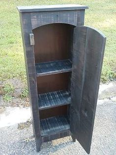 Nice Jelly Cupboard Arch Top  Free Shipping  Black Painted Pine Cabinet
