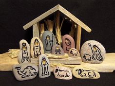 NATIVITY SET Enchanting Natural Engraved Stone by SandStudios, $99.00