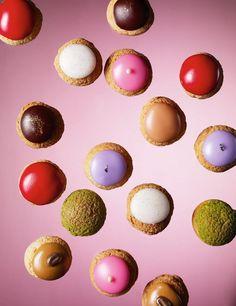 Les Mini Choux | Chocolat, café, vanille, rose, caramel beurre salé, pistache, mûre, fraise | Arnaud Delmontel