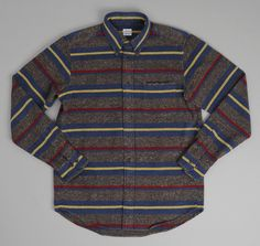 THE HILL-SIDE BUTTON COLLAR SHIRT, GREY/NAVY/YELLOW WOOL BLANKET STRIPE :: HICKOREE'S