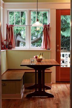 Bungalow Restoration The kitchen's cozy breakfast nook boasts hidden storage.The kitchen's cozy breakfast nook boasts hidden storage. Kitchen Banquette, Kitchen Benches, Dining Nook, Kitchen Decor, Nook Table, Dining Set, Diy Kitchen, Kitchen Ideas, Bungalow Kitchen